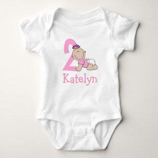 Cute Pink 2nd Birthday Baby Bodysuit