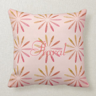 Cute Pink Abstract Floral Pattern Pillow
