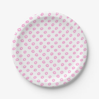 Cute pink abstract polkadots pattern | Baby Shower Paper Plate