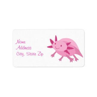 Cute Pink Albino Axolotl Label