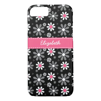 Cute Pink and Black Girly Mod Daisies With Name iPhone 7 Case