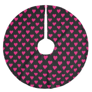 Cute Pink and Black Heart Pattern Brushed Polyester Tree Skirt