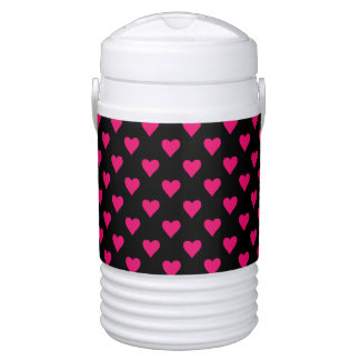 Cute Pink and Black Heart Pattern Drinks Cooler