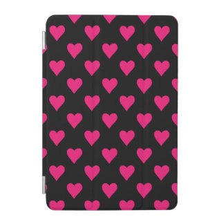 Cute Pink and Black Heart Pattern iPad Mini Cover