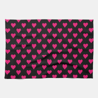 Cute Pink and Black Heart Pattern Kitchen Towel