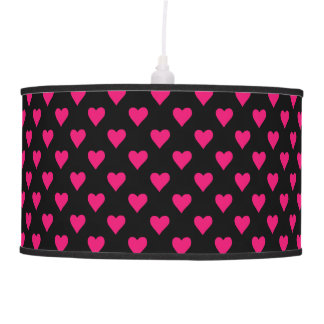 Cute Pink and Black Heart Pattern Pendant Lamp