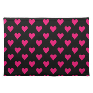 Cute Pink and Black Heart Pattern Placemat