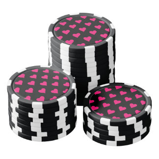 Cute Pink and Black Heart Pattern Poker Chips