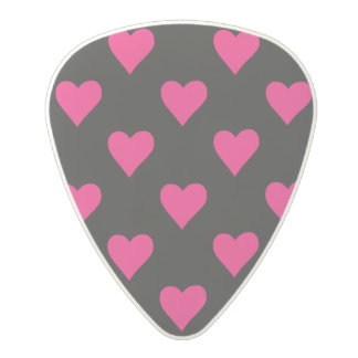 Cute Pink and Black Heart Pattern Polycarbonate Guitar Pick