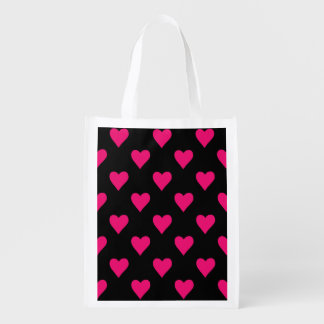 Cute Pink and Black Heart Pattern Reusable Grocery Bag