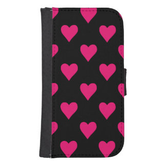 Cute Pink and Black Heart Pattern Samsung S4 Wallet Case