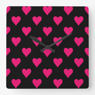 Cute Pink and Black Heart Pattern Square Wall Clock