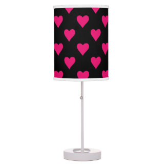 Cute Pink and Black Heart Pattern Table Lamp