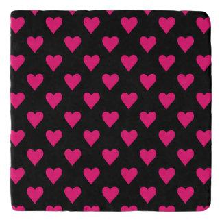 Cute Pink and Black Heart Pattern Trivet