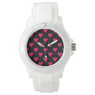 Cute Pink and Black Heart Pattern Watch