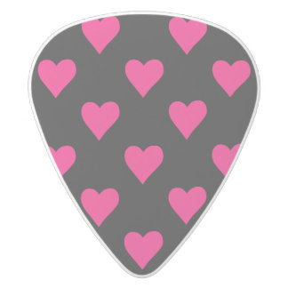 Cute Pink and Black Heart Pattern White Delrin Guitar Pick