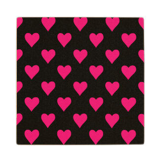 Cute Pink and Black Heart Pattern Wood Coaster