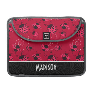 Cute Pink and Black Ladybug Sleeve For MacBooks