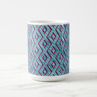 Cute Pink and Blue Aztec Checkered Stripes Coffee Mug