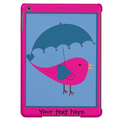 Cute Pink and Blue Bird and Umbrella iPad Air Case iPad Air Case