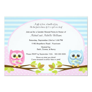 "Cute Pink and Blue Owl Gender Reveal 5"" X 7"" Invitation Card"