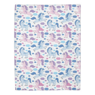 Cute pink and blue unicorns pattern Duvet cover