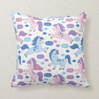 Cute pink and blue unicorns pattern Throw pillow
