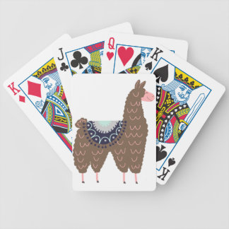 Cute Pink and Brown Llama Bicycle Playing Cards