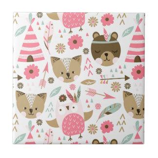 cute pink and brown teddy bear baby print tile