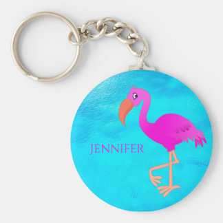 Cute pink and girly tropical flamingo on blue sea keychain