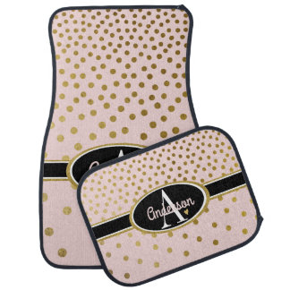 Cute Pink and Gold Dots Monogrammed Car Mat