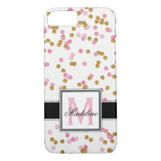 Cute Pink and Gold Glitter Confetti, Monogrammed iPhone 8/7 Case