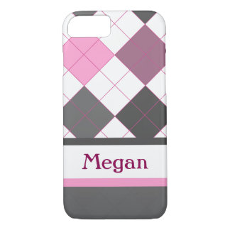 Cute pink and gray girly argyle with custom name iPhone 7 case