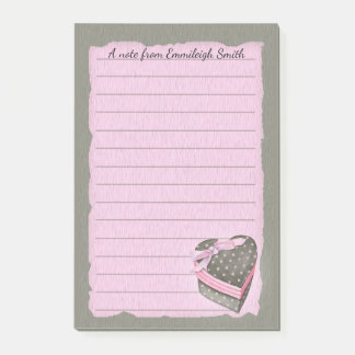 Cute Pink and Gray Valentine Heart Candy with Bow Post-it Notes