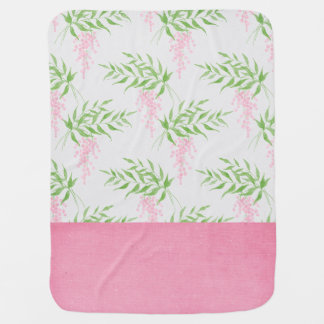 Cute Pink and Green Floral Baby Blanket