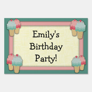 Cute Pink and Green Ice Cream Birthday Party Sign