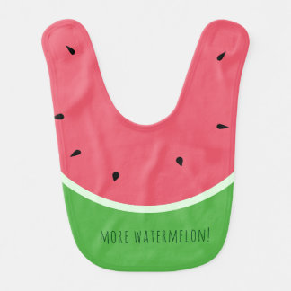 Cute Pink and Green More Watermelon Baby Bib