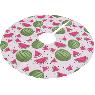 Cute pink and Green watermelon pattern Brushed Polyester Tree Skirt