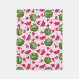 Cute pink and Green watermelon pattern Fleece Blanket