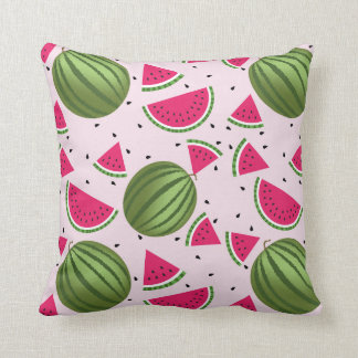 Cute pink and Green watermelon pattern Throw Pillow
