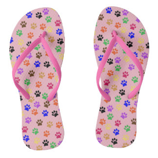 Cute Pink and Multi Colour Cat Paw Prints Pattern Flip Flops