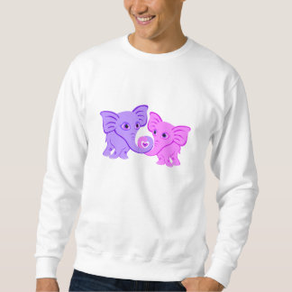 Cute Pink and Purple Elephants Love Heart Sweatshirt