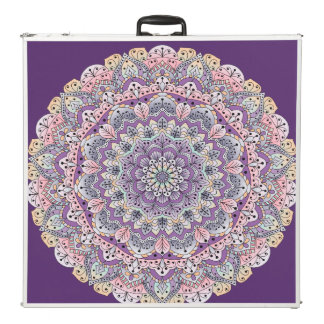Cute pink and purple floral mandala beer pong table
