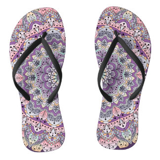 Cute pink and purple floral mandala flip flops