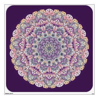 Cute pink and purple floral mandala wall sticker