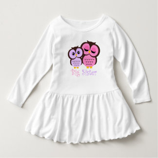 Cute Pink and Purple Owls Big Sister Dress