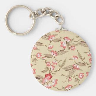 Cute pink and sage flower pattern basic round button keychain