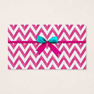 Cute Pink and Teal ZigZag Bow Business Card
