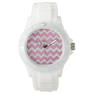 Cute Pink and White Brushed Metal Chevron Pattern Watch
