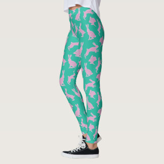 Cute Pink and White Bunnies on Green Leggings
